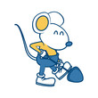 Cute mouse worker with shovel cartoon icon vector illustration graphic design