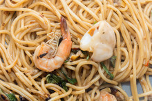 Spaghetti With Seafood On Plat...