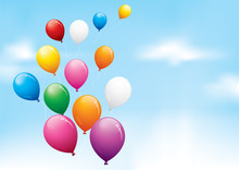 Colourful Balloons Floating In...