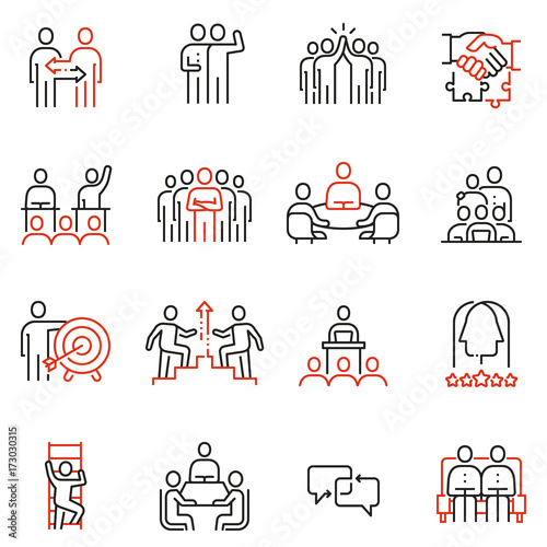 Foto  Vector set of 16 linear quality icons related to team work, human resources, business interaction