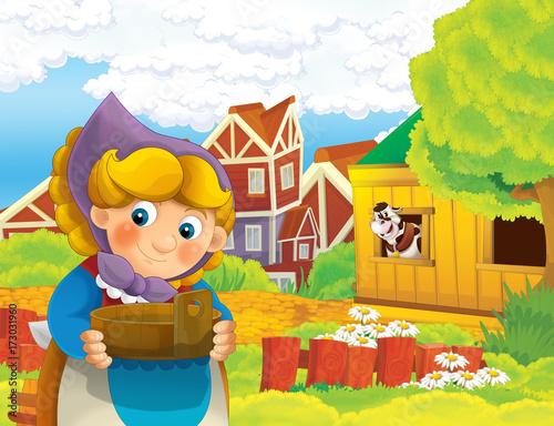 Sceny kreskówki z szczęśliwą kobietą pracującą w gospodarstwie - stojąc i uśmiechając / ilustracja dla dzieci