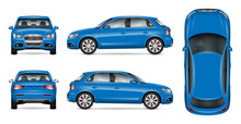 Blue SUV Car Vector Mock Up For Car Branding And Advertising. Elements Of Corporate Identity. All Layers And Groups Well Organized For Easy Editing And Recolor. View From Side, Front, Back, Top.