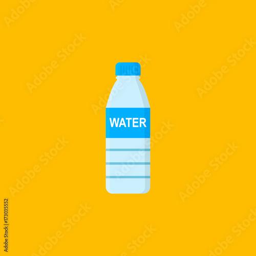 Bottle with water isolated on orange background