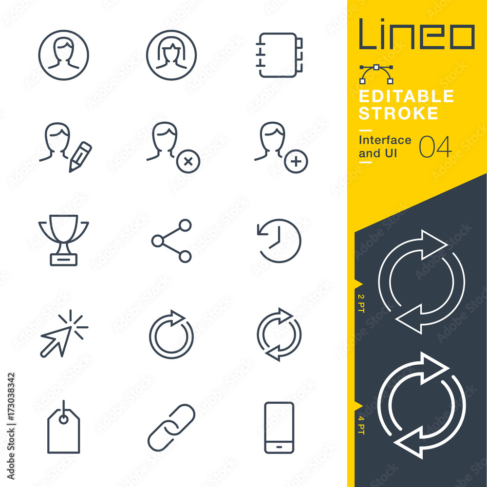 Fototapeta Lineo Editable Stroke - Interface and UI line icons Vector Icons - Adjust stroke weight - Expand to any size - Change to any colour