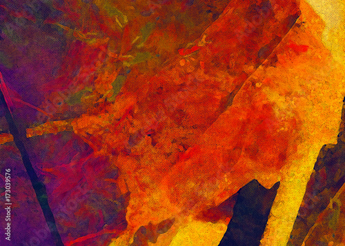 Yellow grape leaves. Painted on canvas watercolor and oil artwork. Good for printed picture, design postcard, posters and wallpapers. Can be use as colorful artistic texture.