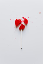 Isolated Broken Heart Shaped Candy On A White Background