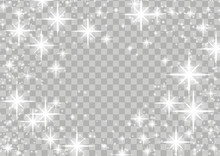 Bright Shimmering Star Glow Magical Frame Layout Over Checkered Background