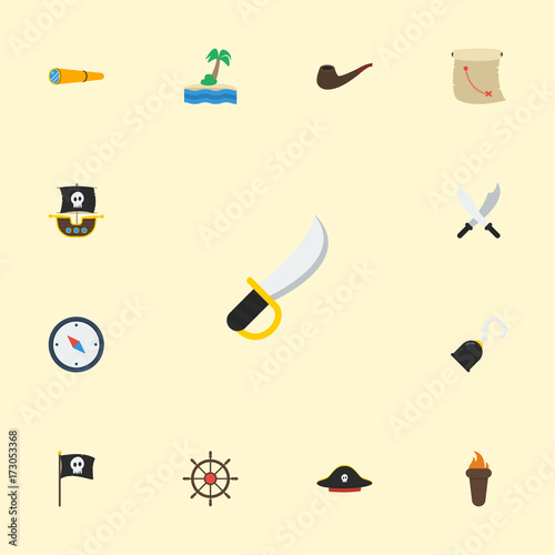 acbe0c2c Flat Icons Ship Steering Wheel, Pirate Hat, Tobacco And Other Vector  Elements. Set Of Pirate Flat Icons Symbols Also Includes Pipe, Map,  Instrument Objects.