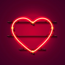 Neon Heart Signboard On The Re...