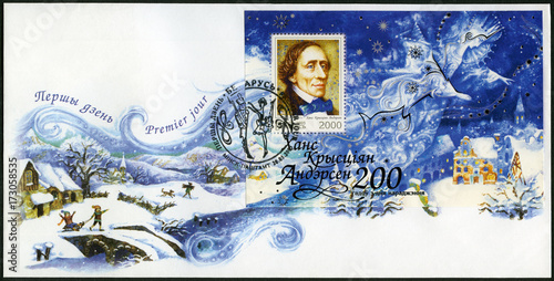 Photo BELARUS - 2005: shows Hans Christian Andersen (1805-1875), writer