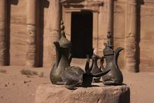 Ancient Arabian - Bedouin Jars And Jugs To Take Water, Coffee An Tea. Just In Front Of Petra Monastery, Jordan