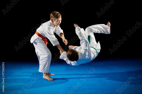Obraz na plátně  Boys martial arts fighters