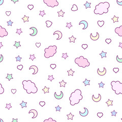 Fototapeta Seamless pattern with clouds, moon, stars, and in the doodle kaw