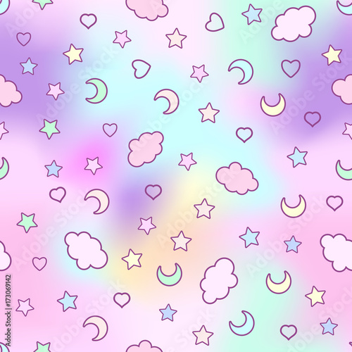 fototapeta na ścianę Seamless pattern with clouds, moon, stars, and in the doodle kaw