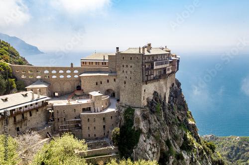 Poster Cappuccino Simonopetra monastery sea view