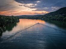 Boat On Lake Austin In Austin, Texas During Sunset