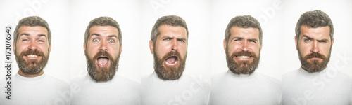 Fotografía  emotion set of bearded man