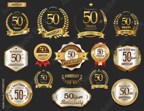 Fototapeta  Anniversary golden laurel wreath and badges 50 years vector collection