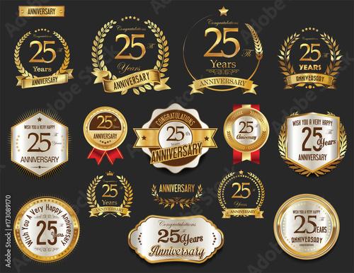 Papel de parede  Anniversary golden laurel wreath and badges 25 years vector collection