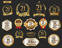 Anniversary Golden Laurel Wreath And Badges 21 Years Vector Collection