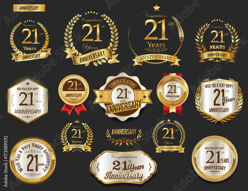 Tela Anniversary golden laurel wreath and badges 21 years vector collection