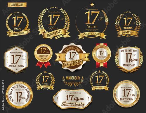 Anniversary Golden Laurel Wreath And Badges 17 Years Vector