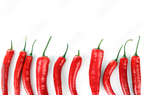 Photo  Chili peppers on white background