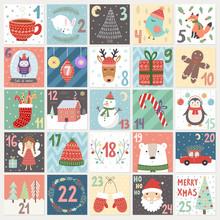 Christmas Advent Calendar. Winter Holidaysposter With Cute Rabbit, Fox, Owl, Bear, Deer And Santa. Vector Illustration