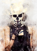 Woman With Skeleton Face Art. ...