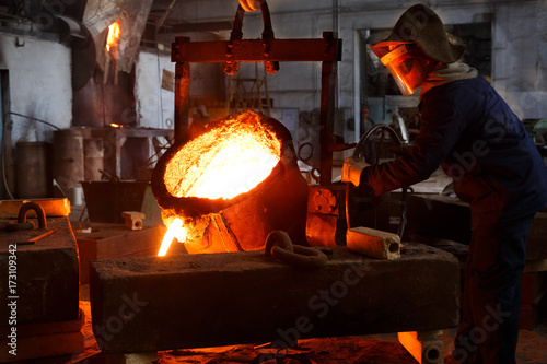 Metallurgical plant, hot metal casting. Canvas-taulu