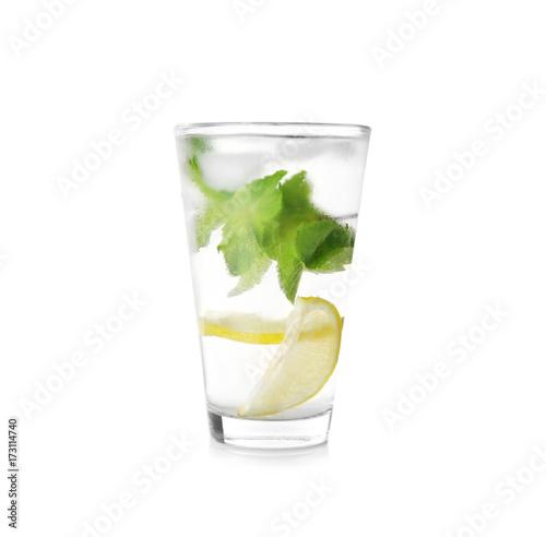 Valokuva  Glass with mint julep on white background