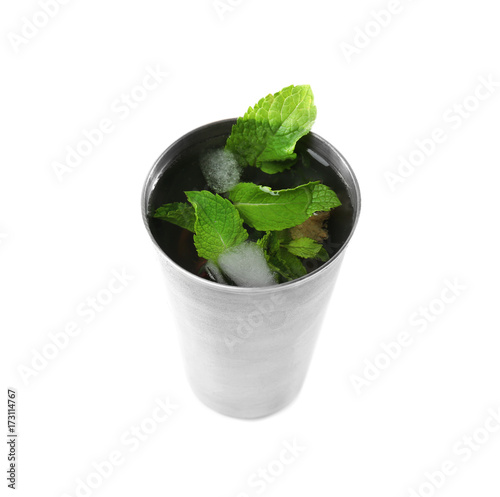 Valokuva  Metal glass with mint julep on white background