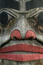 Alaskan Totem Pole Closeup. A ...