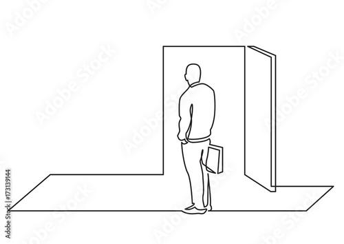 open door drawing continuous line drawing of business concept man before open door opportunity