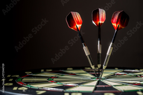 Fotografía Profile of Dartboard with Three Bulls eyes