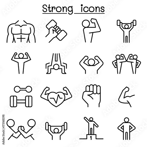 Fotografiet  Strong icon set in thin line style