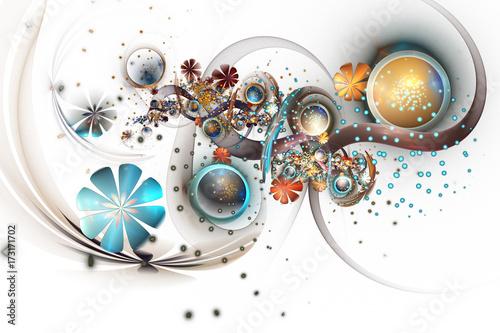 Plakat Piękny pomarańczowy, złoty i błękitny bukiet na białym tle. Streszczenie fantastyczne fraktalne kwiaty i klejnoty. Psychodeliczna sztuka cyfrowa. Renderowania 3D.