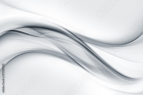 Poster Abstract wave Bright gray and white waves background.