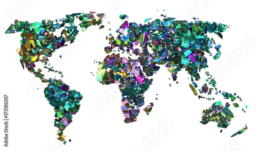 Planisfero in pezzi colorati su sfondo bianco isolato, ecologia Wallpaper Mural