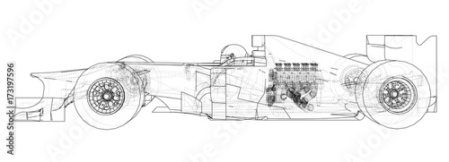 Fotobehang F1 Racing car. Wire-frame. EPS10 format. Vector rendering of 3d