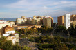 SOView on bull fighting arena (Plaza de toros de La Malagueta) and port in Malaga, Spain from Castillo de GibralfaroNY DSC