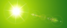 Sunny Background, Green Sun With Lens Flare