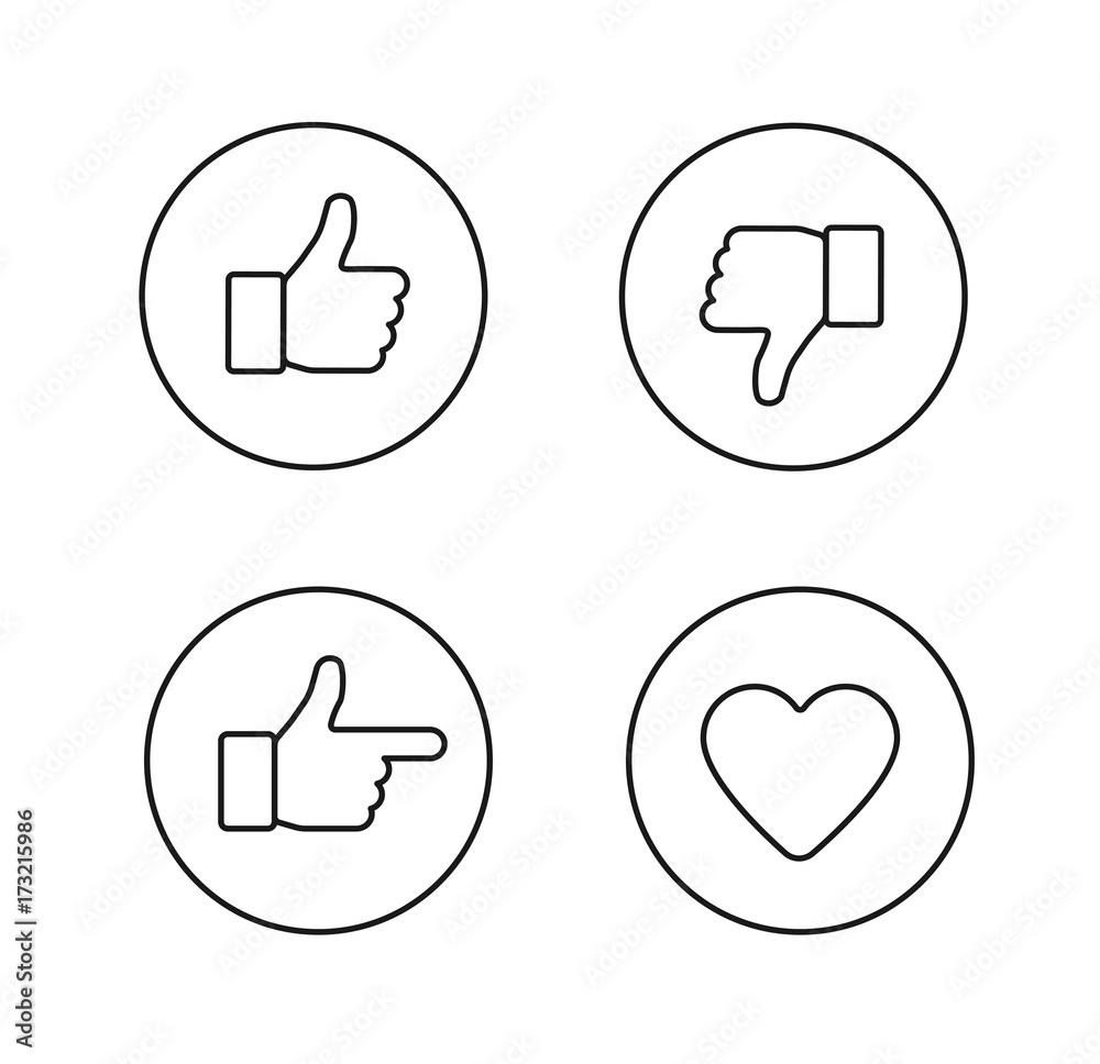 Fototapety, obrazy: Thumbs up thin line icons set. Outline style circle vector icons isolated on white background