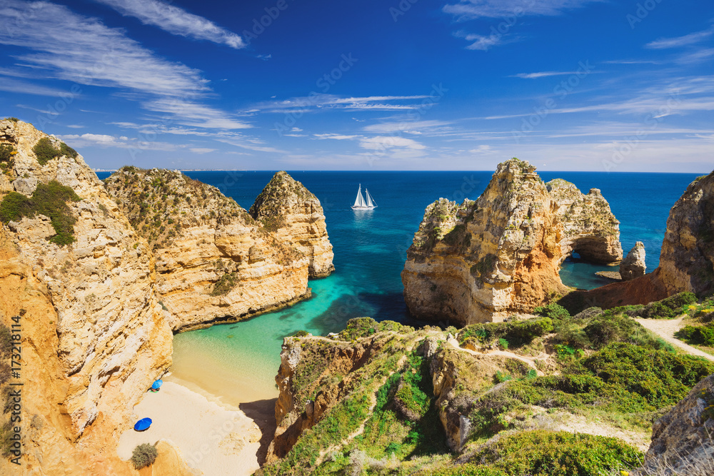 Fototapeta Beautiful bay near Lagos town, Algarve region, Portugal