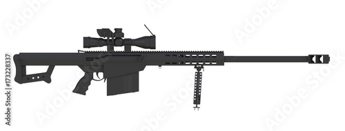 Fotografía  Beside view of black sniper rifle isolated on white background, 3D rendering