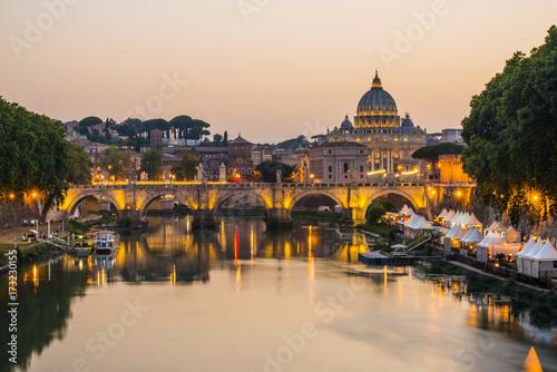 image of River Tiber, including: Ponte Sant Angelo and St Fototapeta