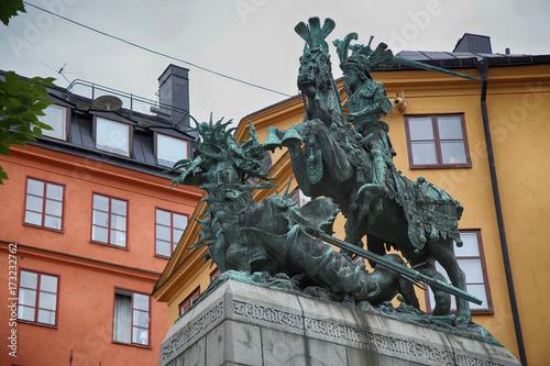 Staande foto Stockholm Statue of Sankt Goran & the Dragon in Stockholm, Sweden
