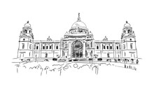 Sketch Of Kolkata Victoria Memorial India In Vector Illustration.
