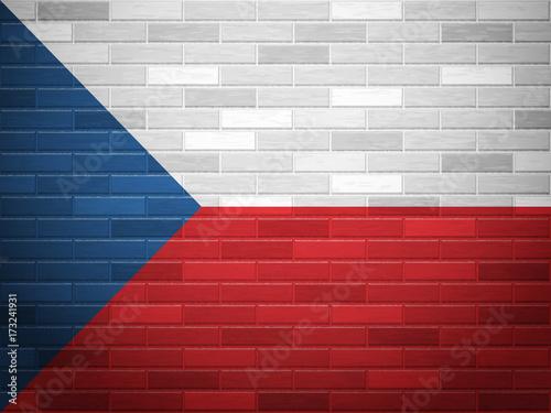 Photo  Brick wall Czech Republic flag
