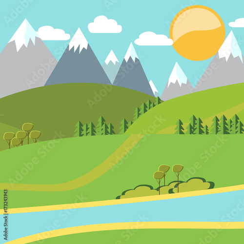 Foto op Canvas Lichtblauw Modern vector flat design conceptual natural landscape illustration